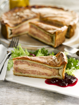 Pork and Apple with Layered Turkey and a Sage Pastry