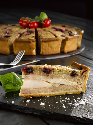 Pork and Turkey Layered Pie with Orange and Cranberry Stuffing